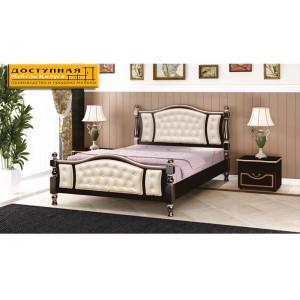 """Кровать из массива """"Жасмин"""" орех темный с тонировкой / светлая экокожа"""