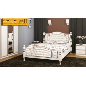 """Кровать из массива """"Жасмин"""" дуб молочный  / светлая экокожа"""