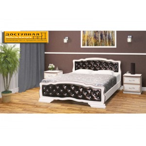 """Кровать из массива """"Карина 10"""" дуб молочный / темная экокожа"""