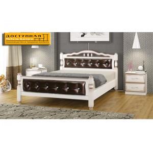 """Кровать из массива """"Карина 11"""" дуб молочный /темная экокожа"""