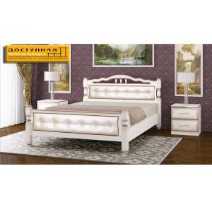 """Кровать из массива """"Карина 11"""" дуб молочный /светлая экокожа"""